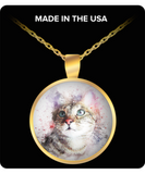 Grey Tabby Cat Round Necklace