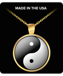 Yin and Yang Round Pendant Necklace - Gold / Silver