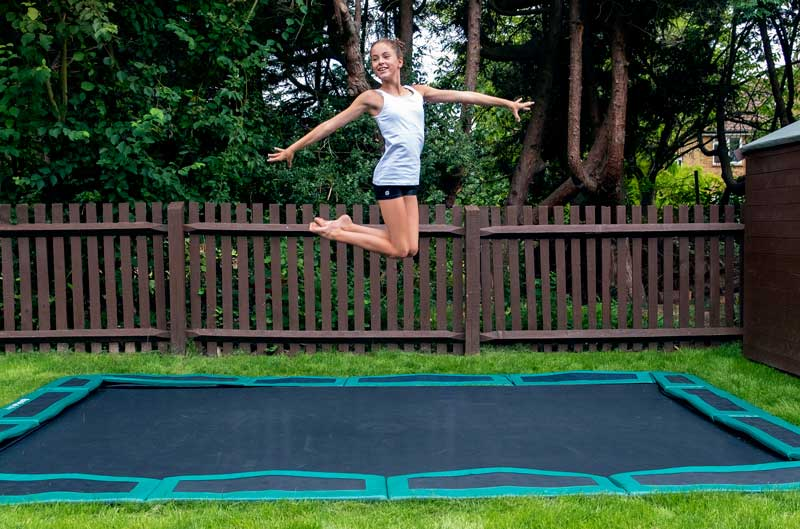 Amelia on in-ground trampoline