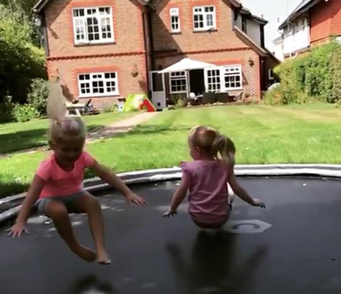 children on sunken trampoline