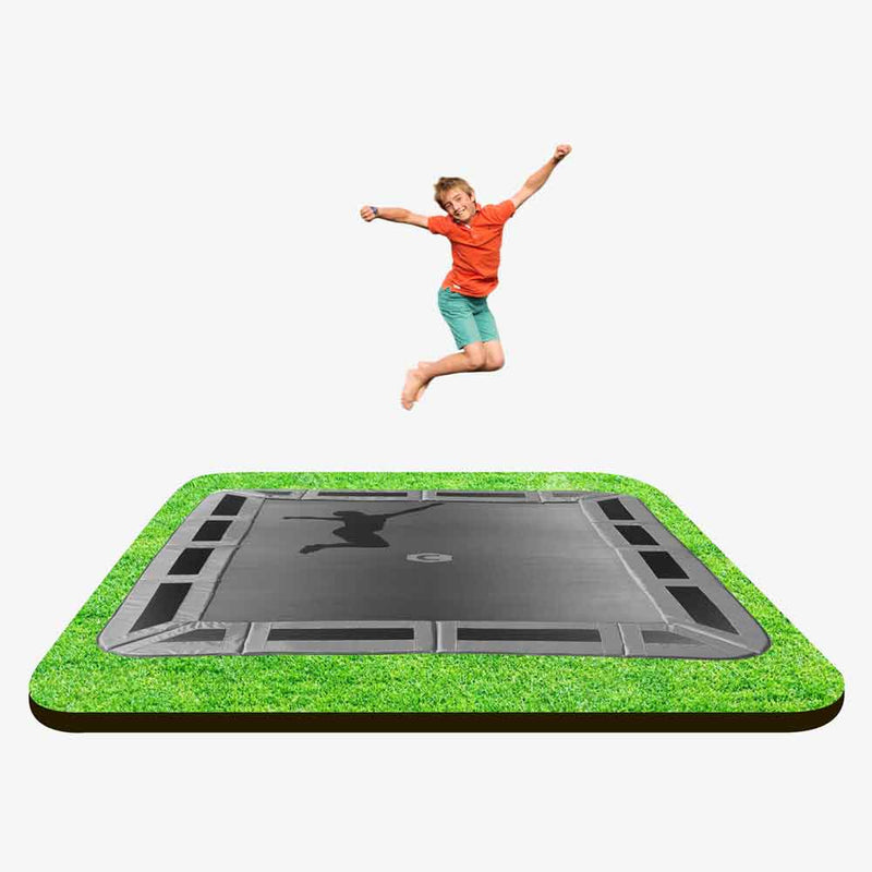 11ft x 8ft in-ground trampoline with grey pads