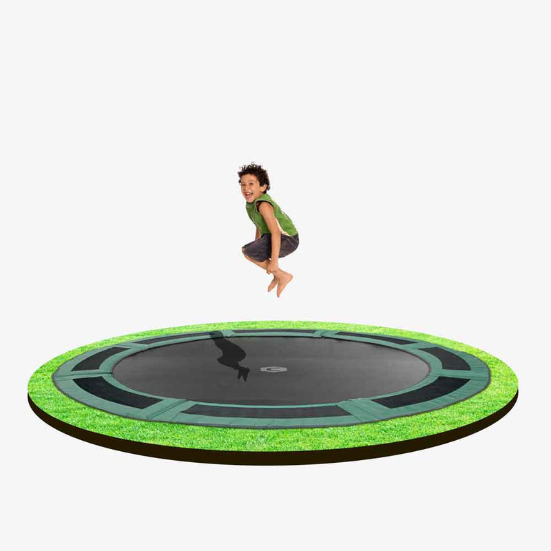 10ft round in-ground trampoline with grey pads