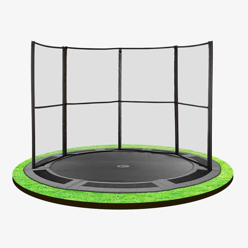 10ft in-ground trampoline with half safety net