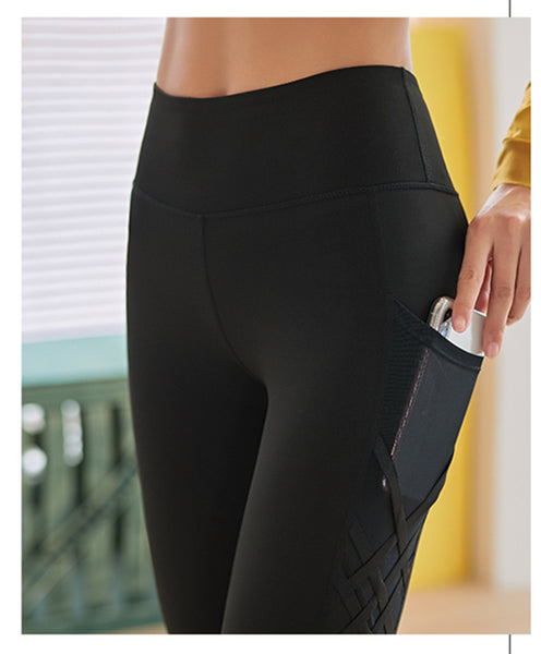 High Waisted Yoga Pants With Side Pockets and Mesh Crisscross