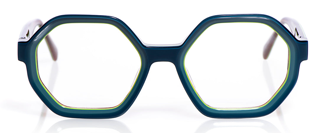 59 Layered Teal Shiny Front with Layered Teal Shiny Temples