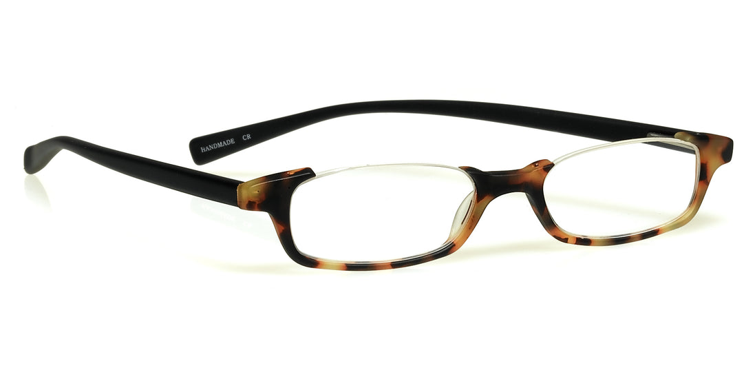 What Inheritance? Color 18 - Tortoise Front with Black Temples in a matte finish