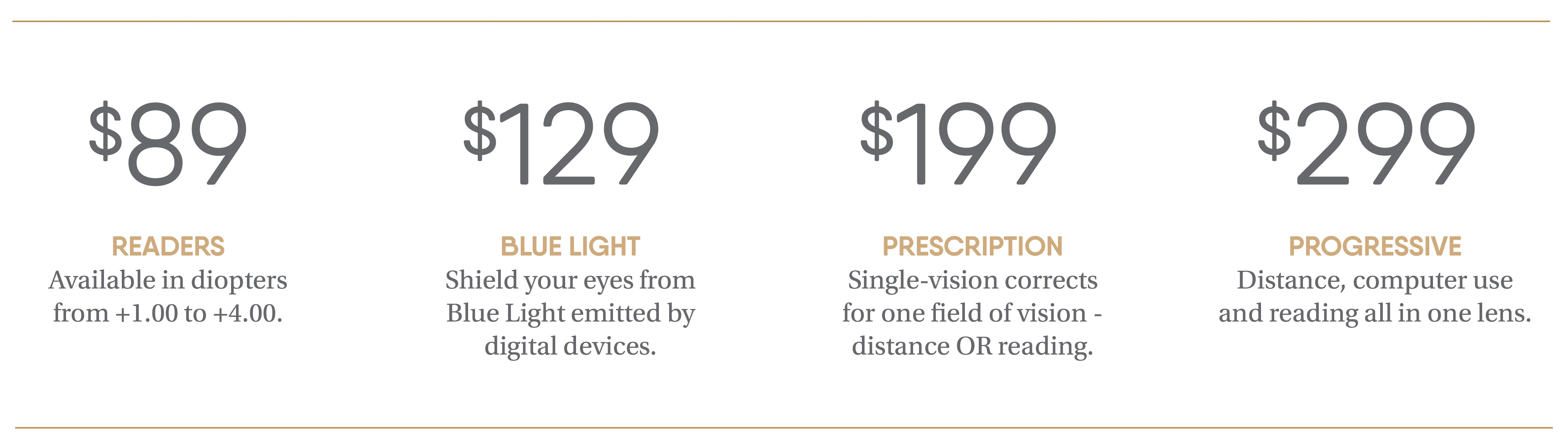 eyebobs Pricing - Starting at $89