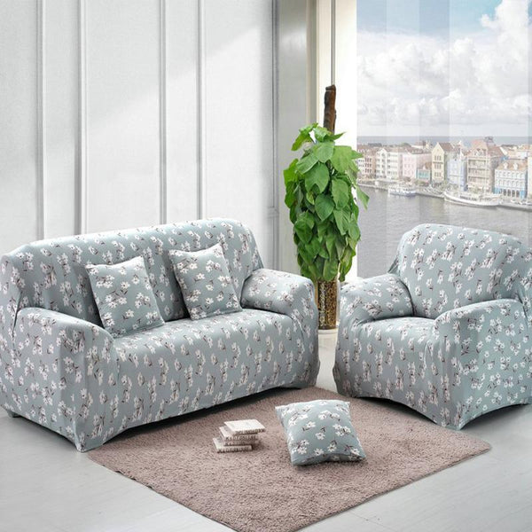 Sofa Blue Flower Printed Slipcovers