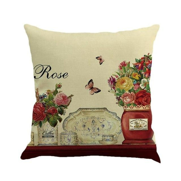 Bird Rose Flower Print Cushion