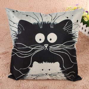 45cm*45cm Decorative Pillows Cartoon Cat Pillow Case Linen Cotton Cat Cushion Cover Chair Seat Car Sofa Kitten Pillowcase