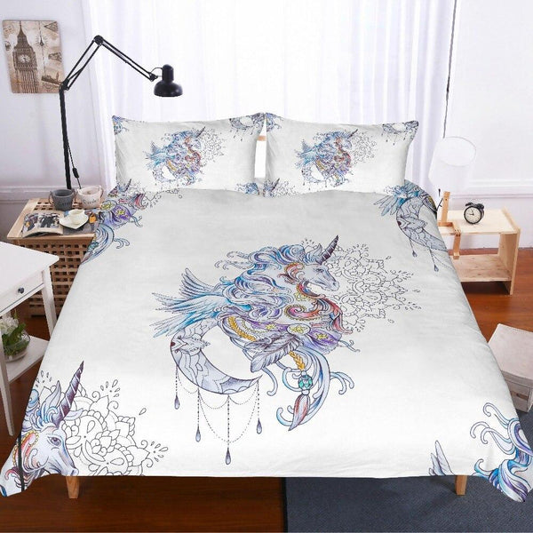 3D Duvet unicorn flowers Sheet