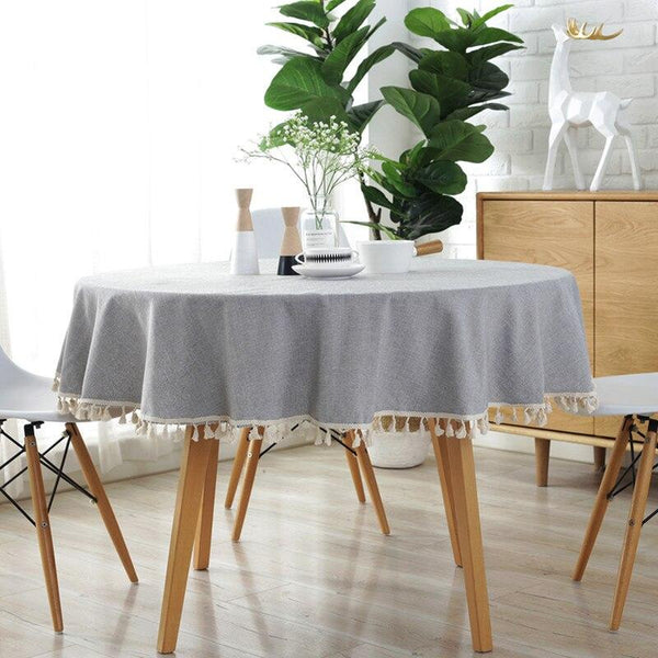 Decor Round Party Tassel Tablecloth