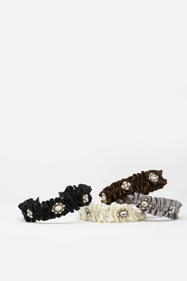 Jeanette Ruffled Embellished Headband