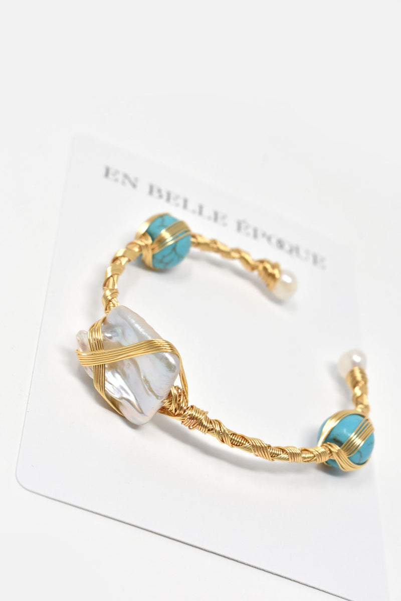 Orabelle Gold-Plated Pearl Turquoise Cuff