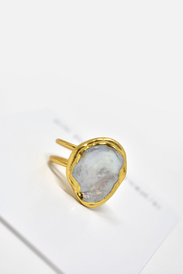 Ozanne Gold-Plated Pearl Adjustable Ring