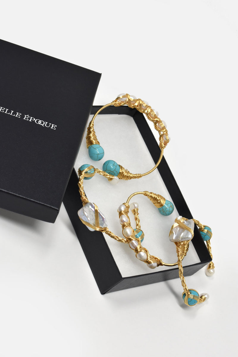 Orianne Gold-Plated Pearl Turquoise Cuff
