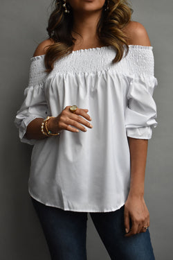 Marceline Chiffon Off The Shoulder White Blouse
