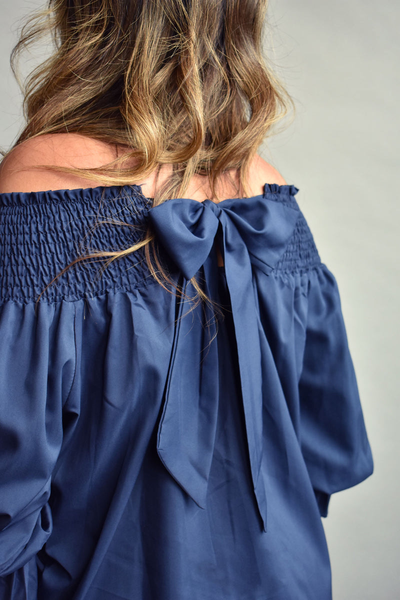 Marceline Chiffon Off The Shoulder Blue Blouse