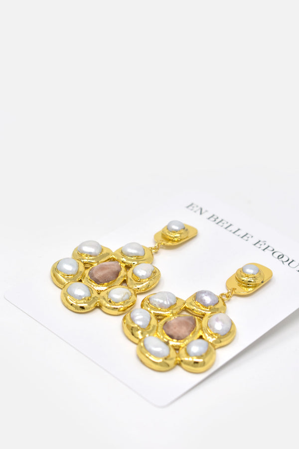 Ocilia Gold-Plated Freshwater Pearl Earring - Amethyst