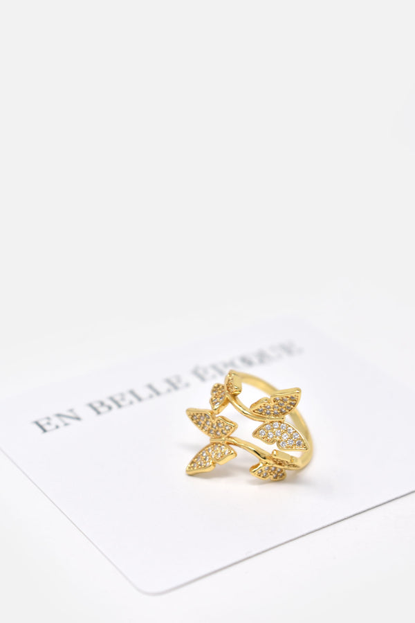 Odille Gold-Plated Butterfly Adjustable Ring