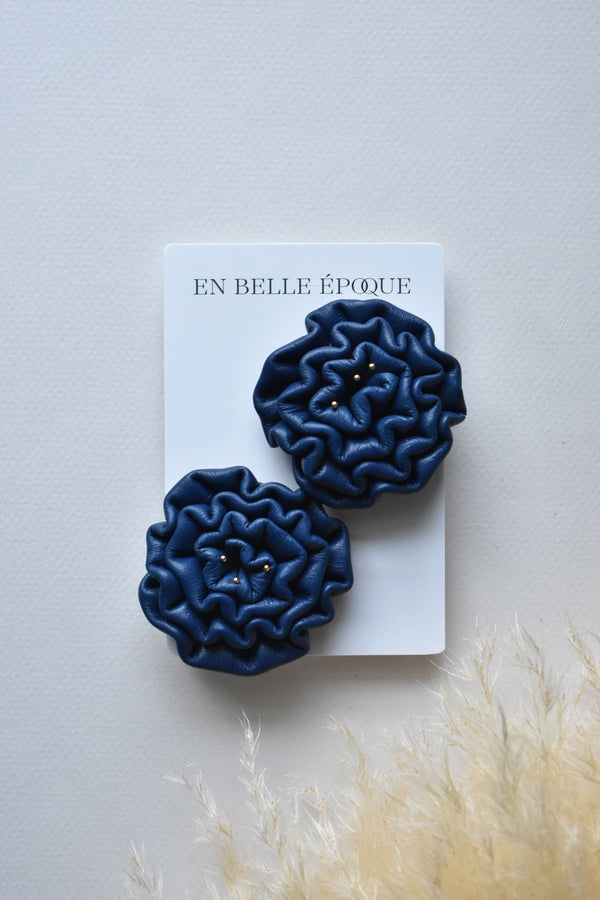 Handcrafted Grand Bleu Rose Earring