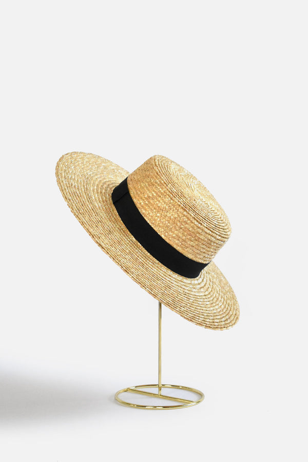Abella Wide Brim French Boater - Black Band