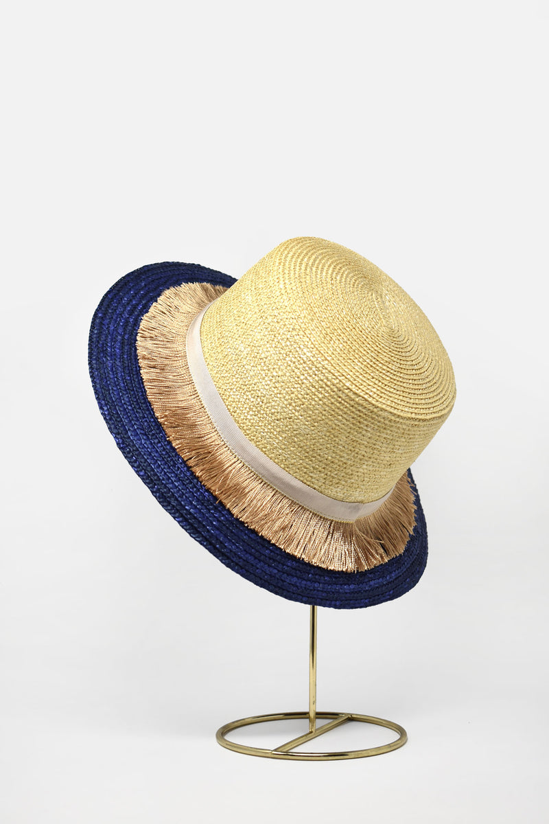 Aurorette Two Tone Tasseled French Boater Hat