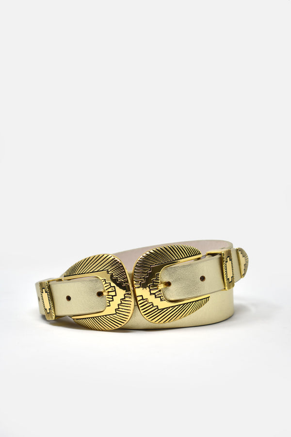 Pruitt Winslow Gold Double-Buckle Belt