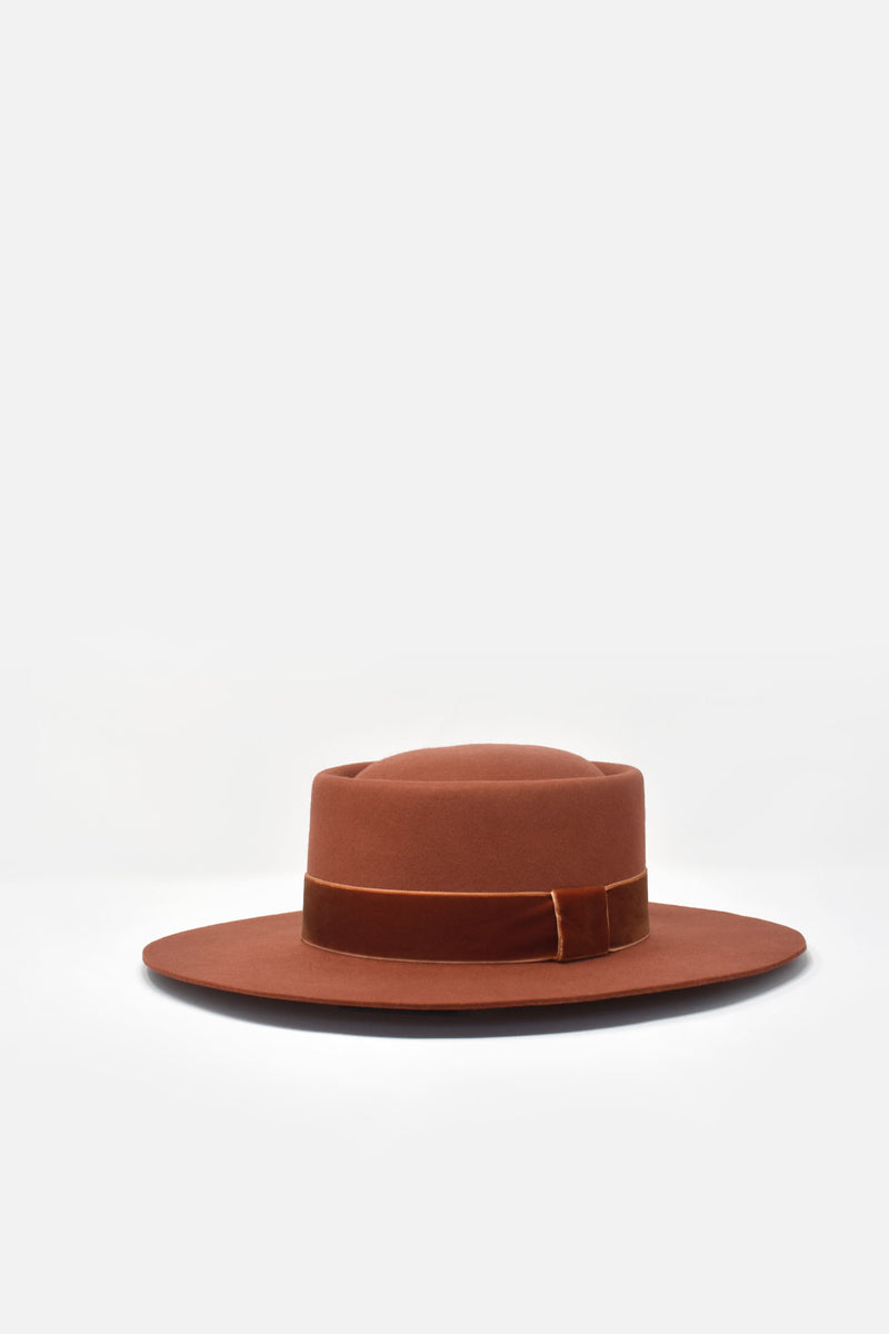 Benezet Wool Felt Boater Hat - Sunset Orange