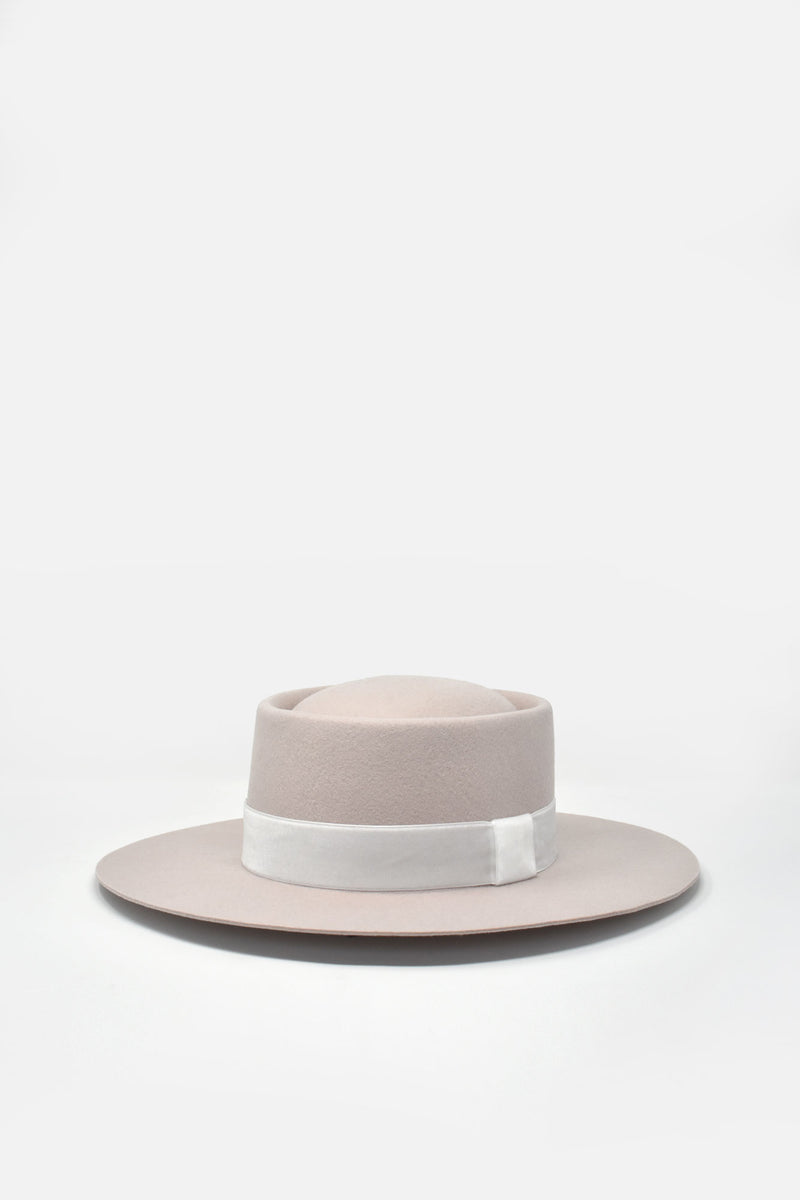 Benezet Wool Felt Boater Hat - Soft Pink