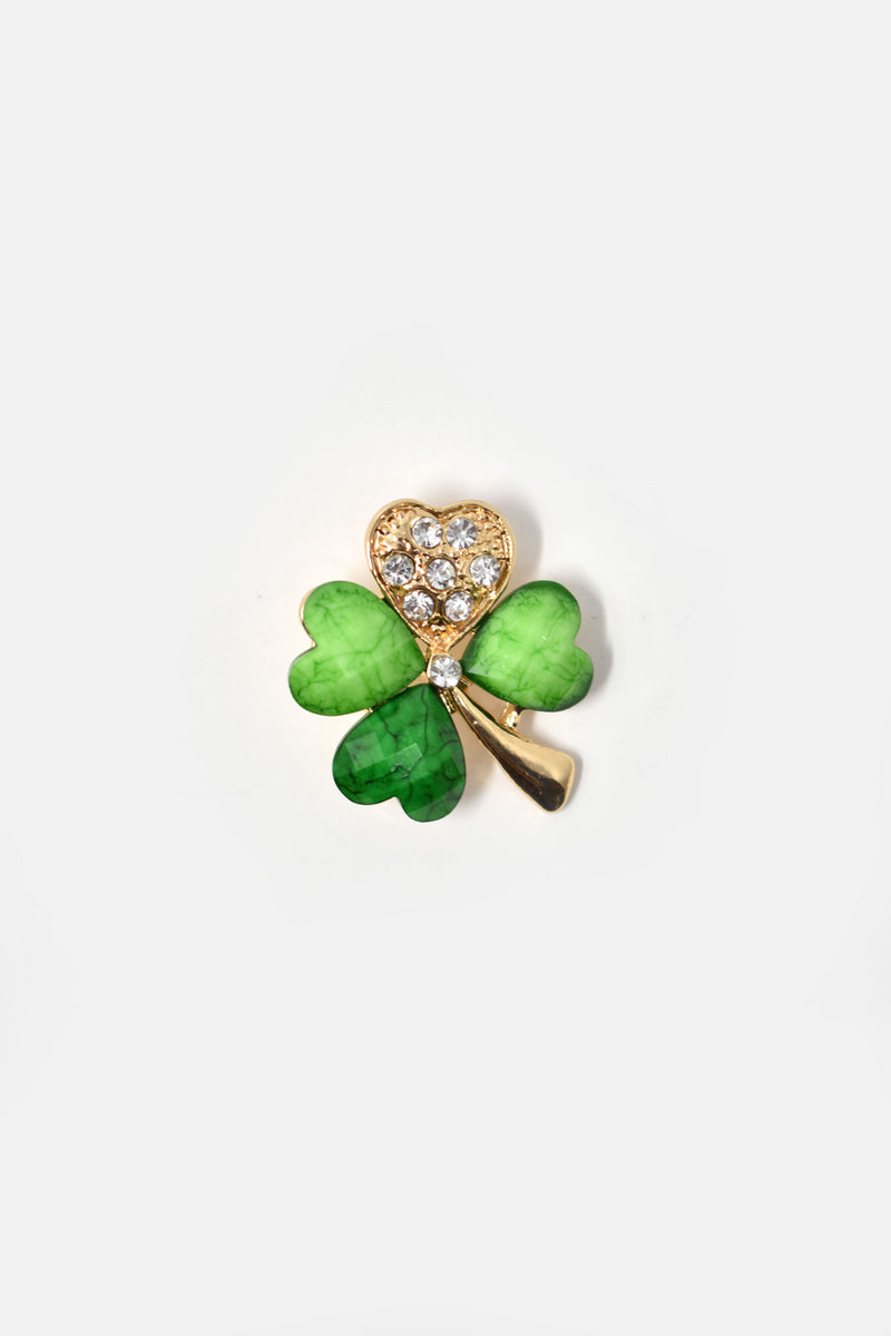 18k Gold-Plated Green Four-Leaf Brooch