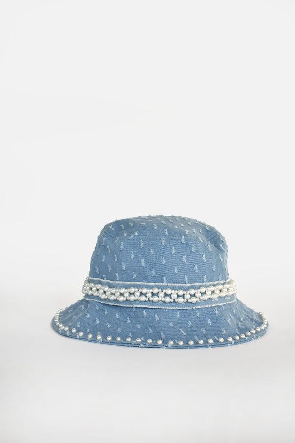 Céleste Denim Pearl Bucket Hat