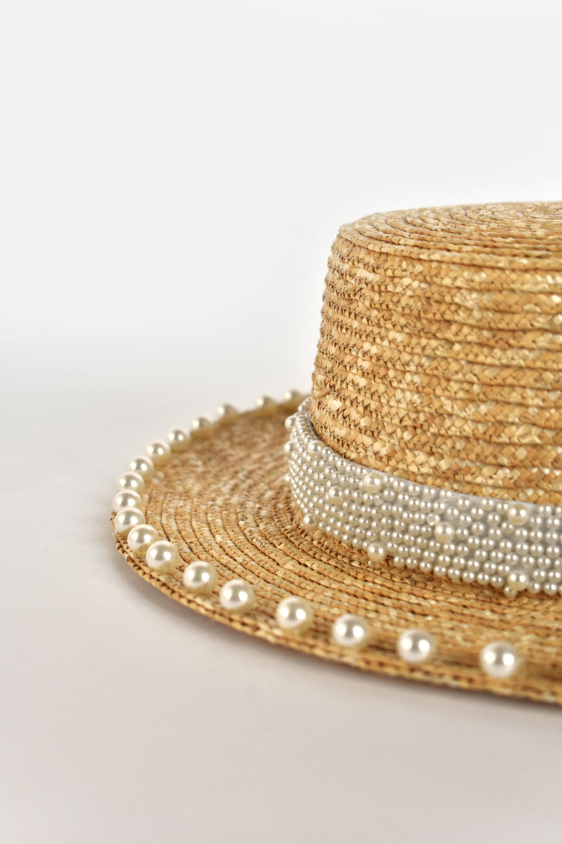 Alice French Boater Pearl Hat