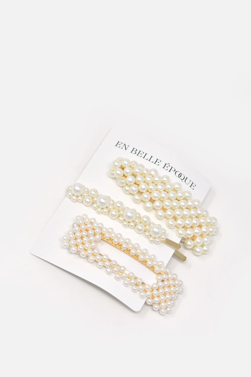 Le Luxe Pearl Barrette Pin Set