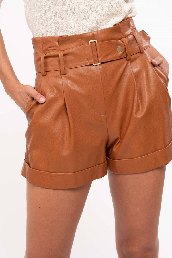 Lucette Leather Paper Bag Shorts