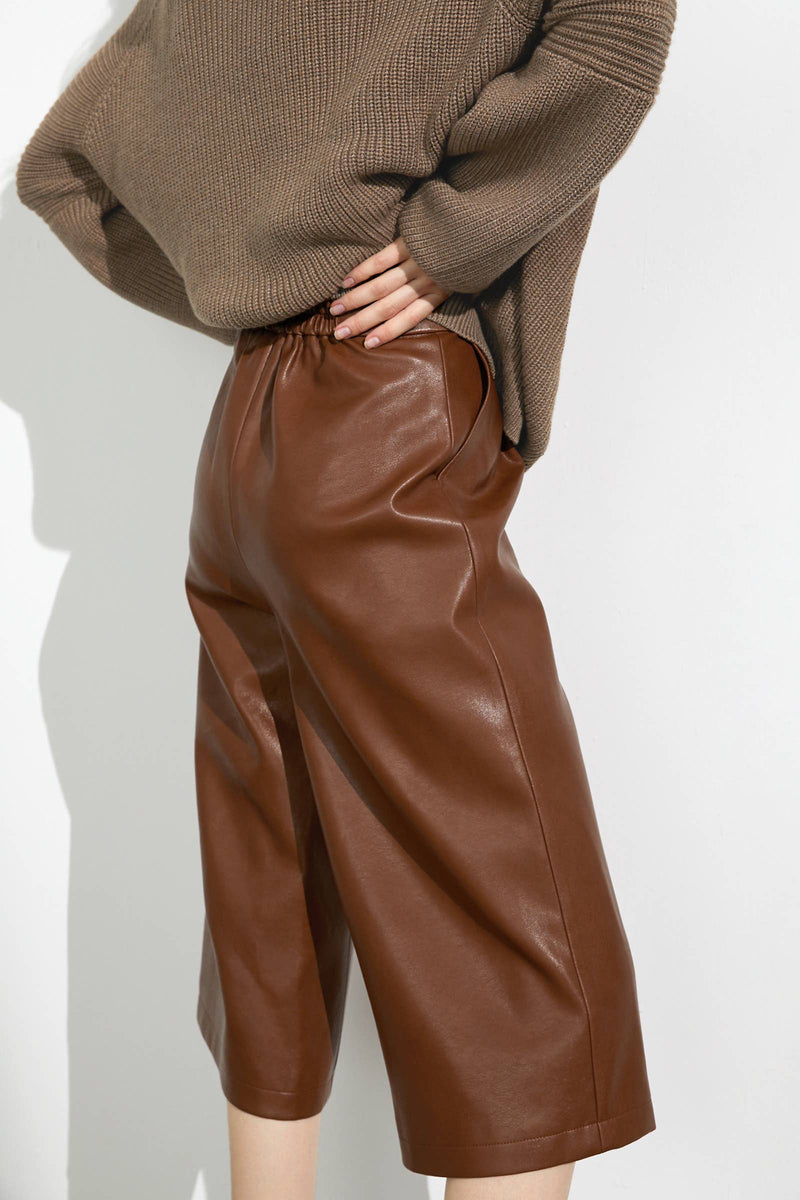Lyanna Jerome Brown Leather Culottes