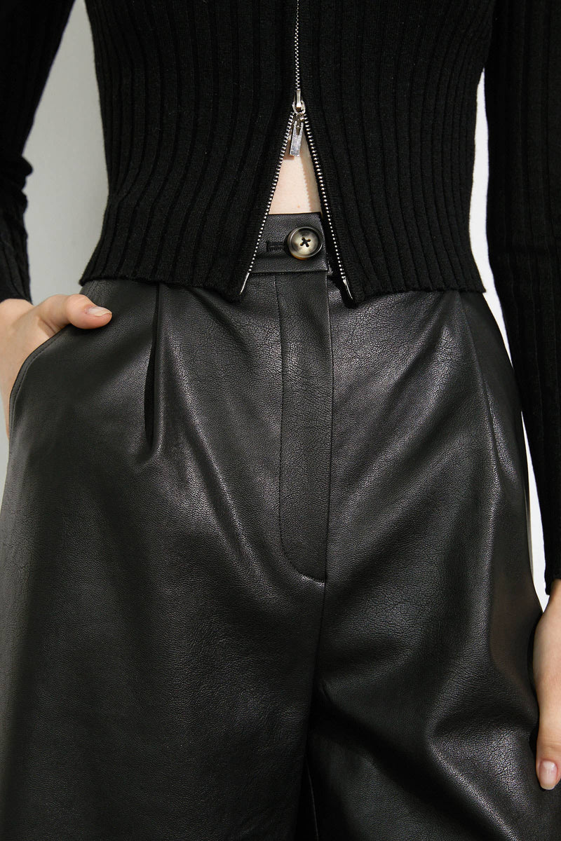 Lyanna Jerome Black Leather Culottes