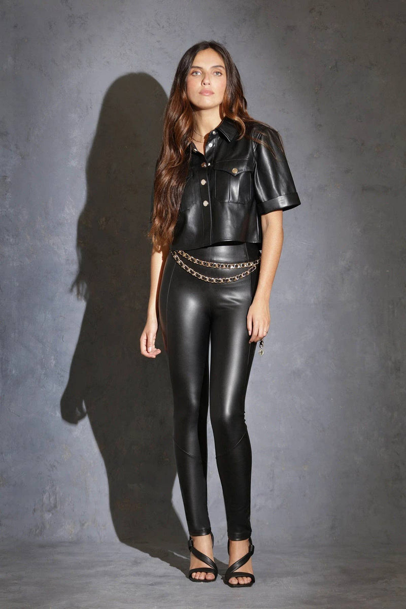 Minette Croped Faux Leather Top