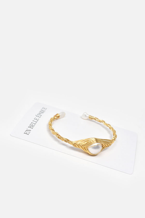 Olivia Gold-Plated Freshwater Pearl Cuff