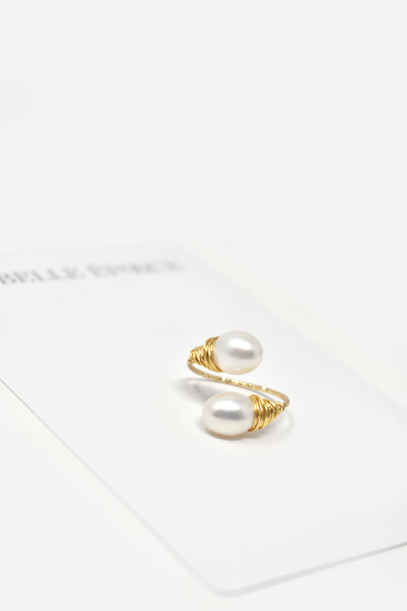 Olivia Gold-Plated Pearl Adjustable Ring