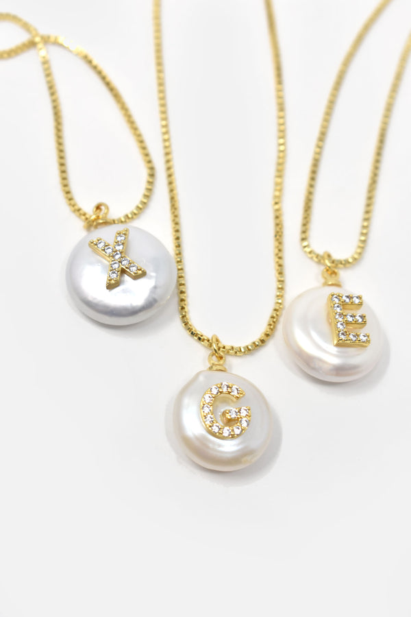 Olivie Gold-Plated Freshwater Pearl Initial Necklace