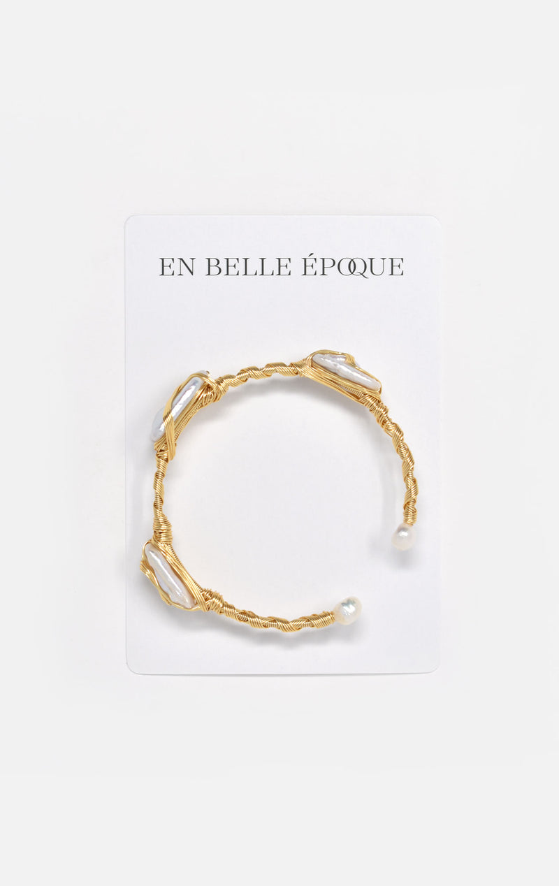 Orabelle Gold-Plated Freshwater Pearl Cuff