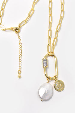 Orlene Gold-Plated Moon and Star Chain Link Necklace