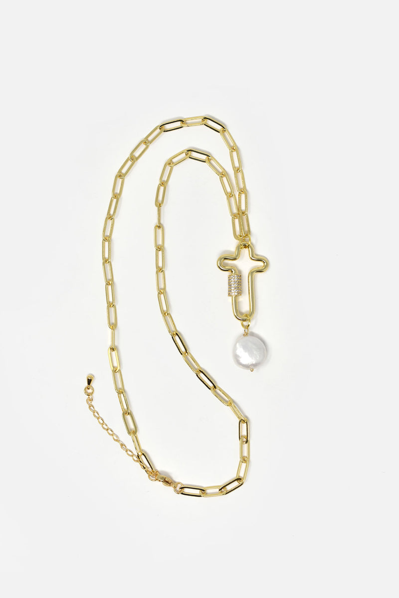 Osanne Gold-Plated Cross Chain Link Necklace