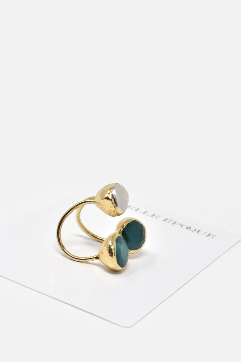 Ozanne Gold-Plated Jade and Pearl Adjustable Ring