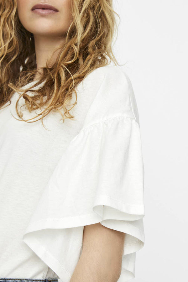 Rébecca White Ruffled Sleeve Top