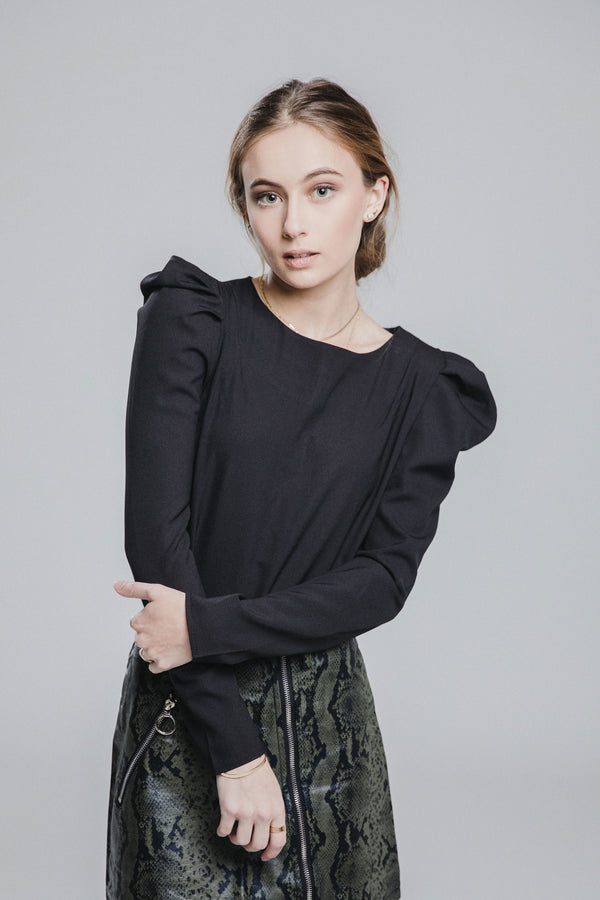 Suzette Black Puff Sleeve Top