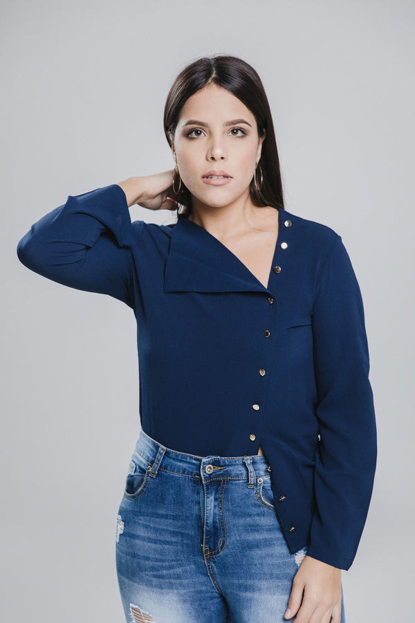 Stéphane Blue Asymmetrical Button Blouse