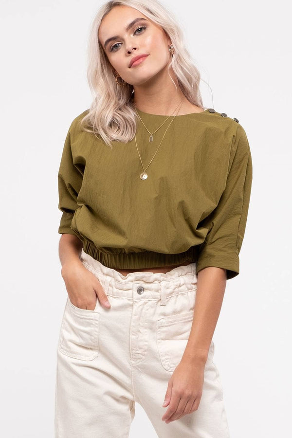 Sylvie Puff Sleeve Top with Button Accents