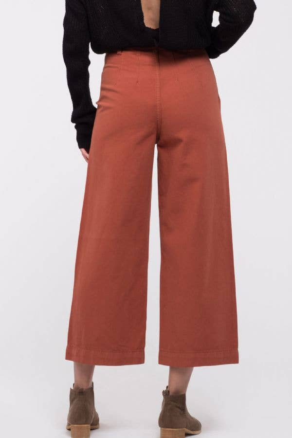 Lauren Solid Wide Leg Culotte Pants